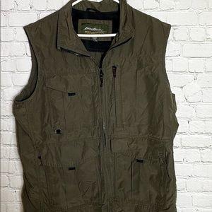 Eddie Bauer Olive Green Utility Vest Large